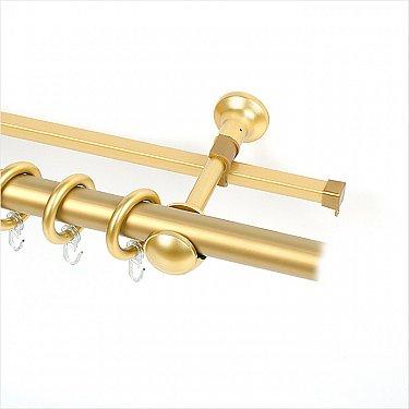 Карниз металлический с элементами из металлизированной пластмассы, 2-рядный золото матовое, гладкая труба, ø28 мм