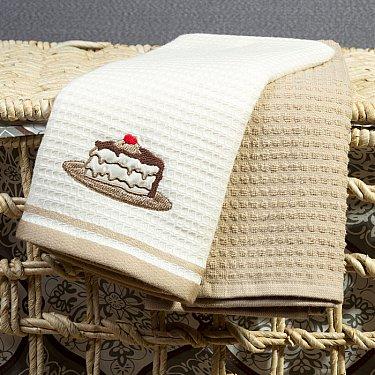Комплект кухонных полотенец Arya Tea Time Тортик (40*60 см), белый, бежевый
