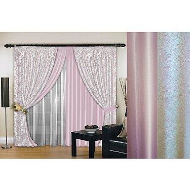 Комплект штор №019, нежно-розовый, белый, 160*260 см