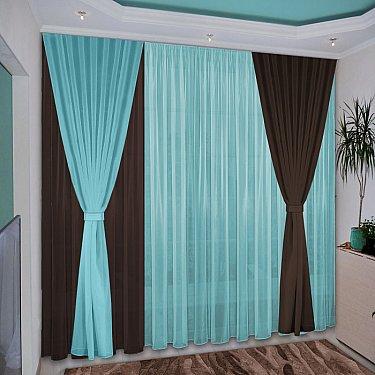 Комплект штор №038 Темно-коричневый, Бирюзовый