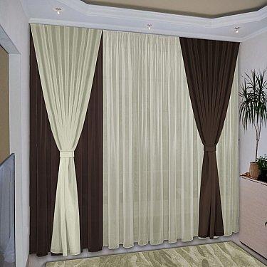 Комплект штор №038 Темно-коричневый, Жемчужный