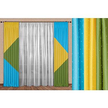 Комплект штор №106, желтый, зеленый, бирюза