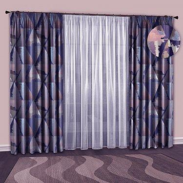 Комплект штор №127 Сине-розовый, Голубой