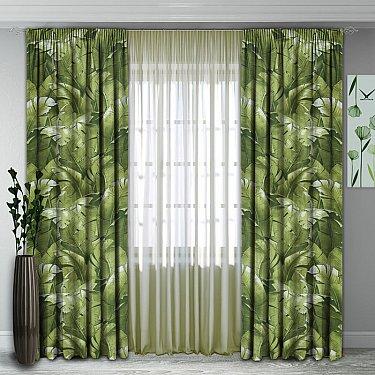 Комплект штор №139, зеленый (папоротник)