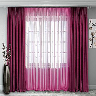 Комплект штор №140, малиново-розовый