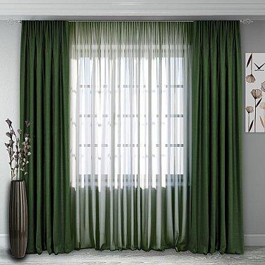 Комплект штор №140, зеленый