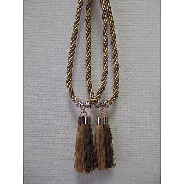 Кисти двойные С-1, коричневый, золото, коричневый, золотой, 14 см