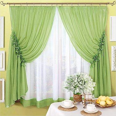"Шторы на кухню ""Луиза"", зеленый (олива)"