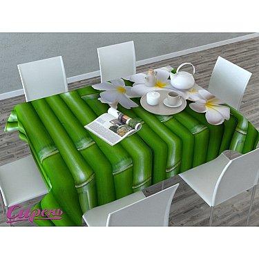 """Скатерть 3D """"Плюмерия и бамбук"""", зеленая"""