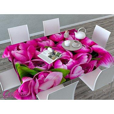 """Скатерть 3D """"Розовые тюльпаны"""", розовая"""