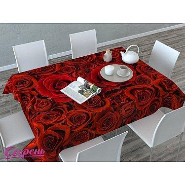 """Скатерть 3D """"Алые розы"""", красная"""