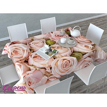"""Скатерть 3D """"Молодые розы"""", розовая"""