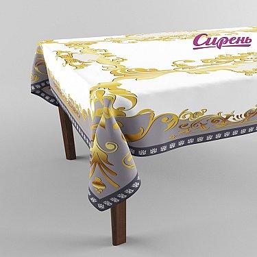 """Скатерть 3D """"Золотая рамка"""", серо-золотая"""