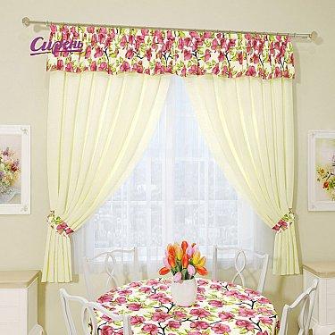 """Комплект штор """"Алламанда"""", кремовый, розовый"""