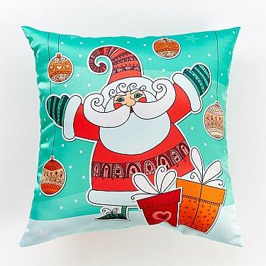 """Декоративная подушка сатен """"Веселый Санта"""""""