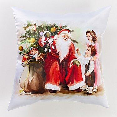 """Декоративная подушка сатен """"Дед мороз и дети"""""""