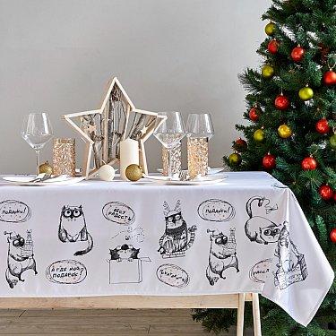 """Скатерть новогодняя сатен """"Подарки от котят"""""""