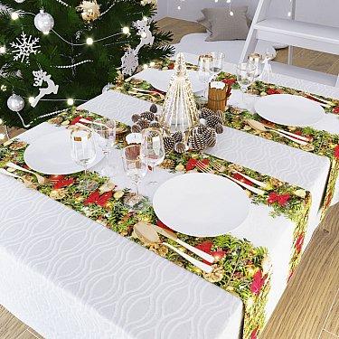 """Дорожка на стол """"Рождественский венок"""", 40*140 см"""
