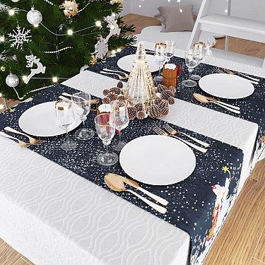 """Дорожка на стол """"Дед Мороз и Снегурочка"""", 40*140 см"""