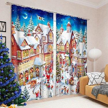 """Фотошторы """"Рождественская ярмарка"""", 145*260 см"""
