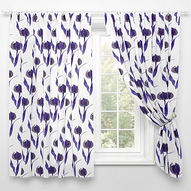 """Фотошторы для кухни """"Фиолетовые тюльпаны"""", 145*180 см"""