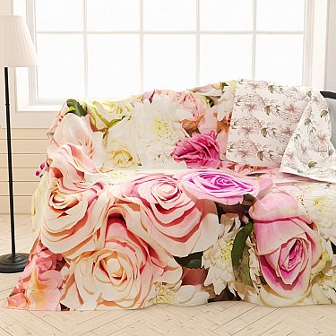"""Фотоплед двухсторонний """"Цветущие розы"""", 145*220 см"""