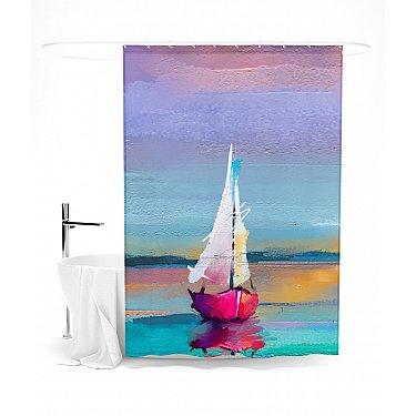 """Штора для ванной """"Романтичный парусник"""", 145*180 см"""