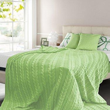 Плед вязаный хлопок Buenas Noches, зеленый, 150*200 см