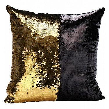 Подушка переводная из пайеток Magic Shine, черное золото, 40*40 см-A
