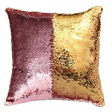 Подушка переводная из пайеток Magic Shine, розовое золото, 40*40 см