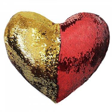 Подушка переводная из пайеток Magic Shine Сердце, красное золото, 35*40 см