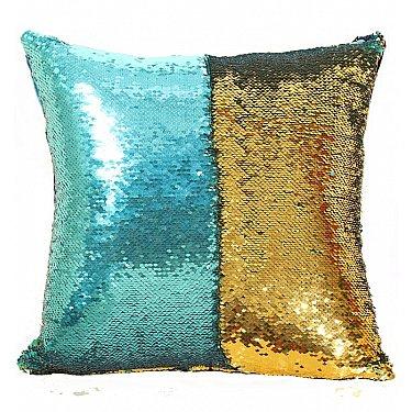 Подушка переводная из пайеток Magic Shine, золотой изумруд, 40*40 см