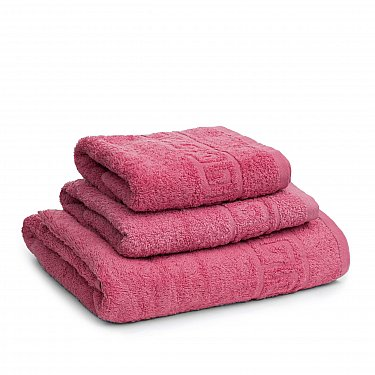 Полотенце махровое Ашхабад греческий бордюр, розовый
