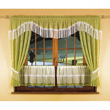 Комплект штор для кухни №5874, салатовый