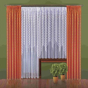 Комплект штор №021W, оранжевый, белый