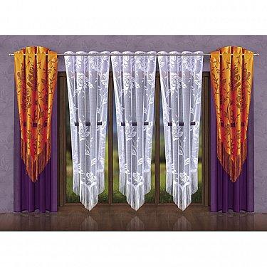 Комплект штор №028W, оранжевый, белый, фиолетовый