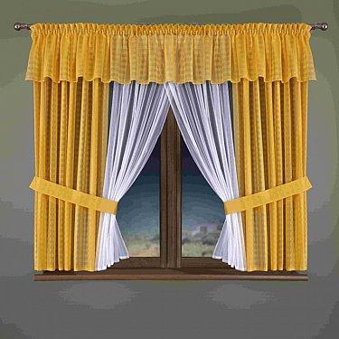 Комплект штор для кухни №350W, желтый, белый