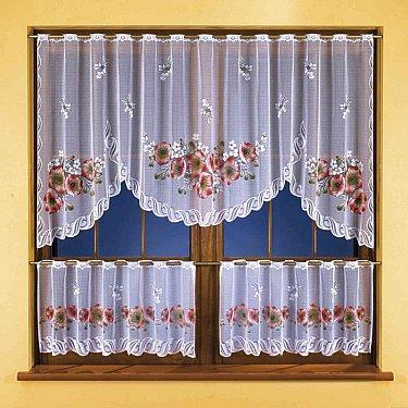 Комплект штор для кухни №3261, белый, красный